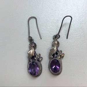 Real silver and amethyst earrings